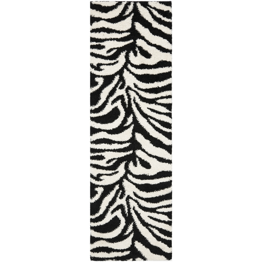 Safavieh Zebra Shag Ivory/Black Rectangular Indoor Machine-Made Animals Runner (Common: 2 x 11; Actual: 2.25-ft W x 11-ft L x 0-ft Dia)