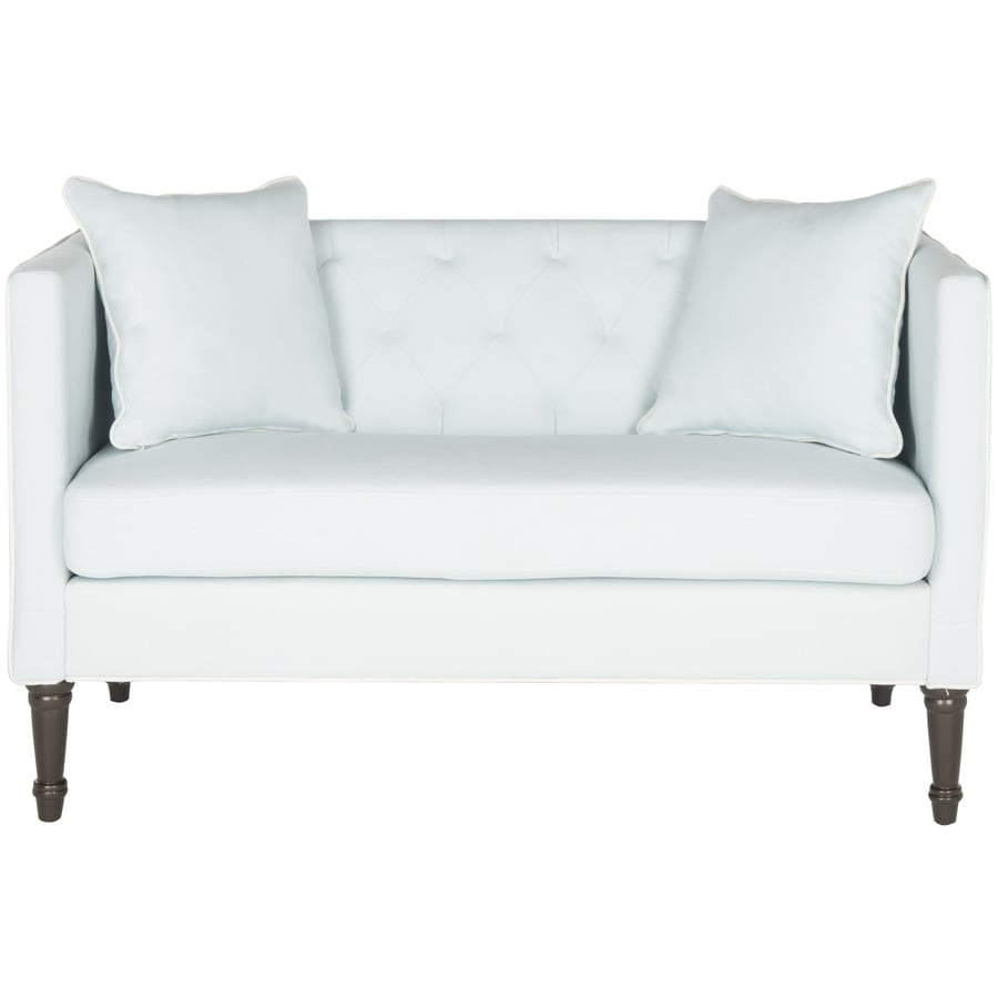 Safavieh Sarah Midcentury Powder Blue/White/Espresso Loveseat