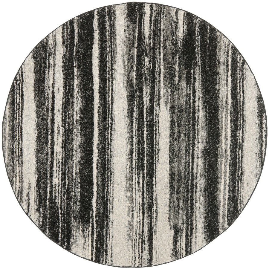 Safavieh Retro Fissure Dark Gray/Light Gray Round Indoor Machine-made Distressed Area Rug (Common: 8 x 8; Actual: 8-ft W x 8-ft L x 8-ft Dia)