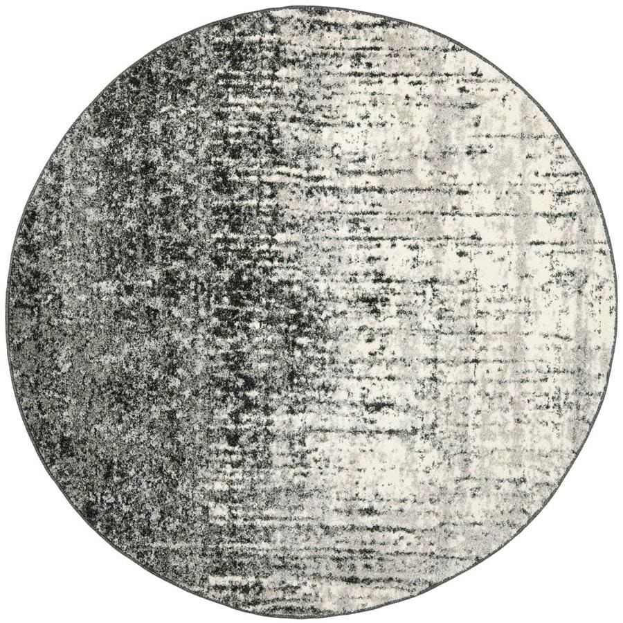 Safavieh Retro Elan Black/Light Gray Round Indoor Distressed Area Rug (Common: 8 x 8; Actual: 8-ft W x 8-ft L x 8-ft dia)