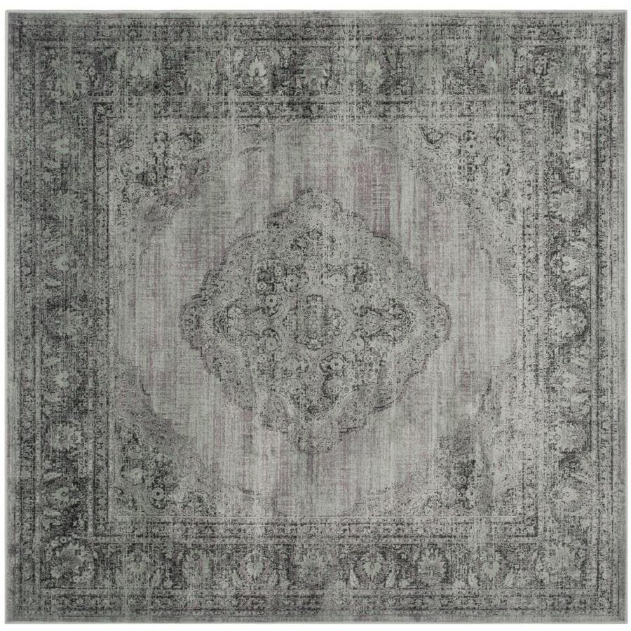 Safavieh Vintage Light Blue Square Indoor Machine-Made Distressed Area Rug (Common: 8 x 8; Actual: 8-ft W x 8-ft L)