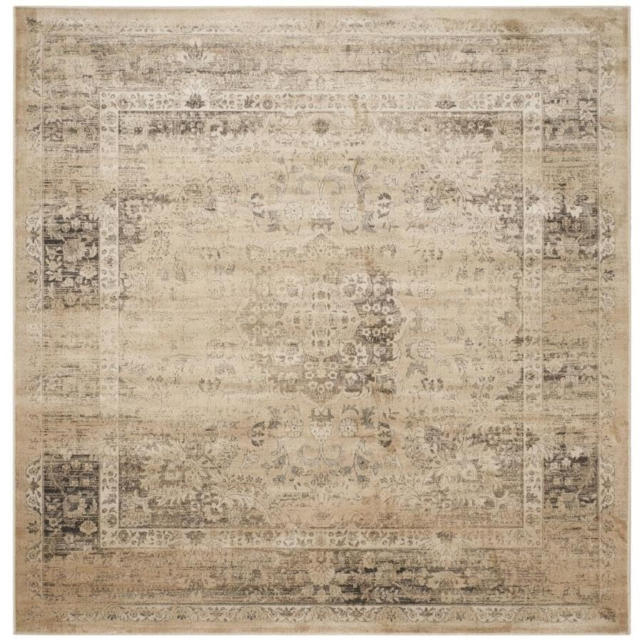 Safavieh Vintage Alhia Warm Beige Square Indoor Machine-made Distressed Area Rug (Common: 8 x 8; Actual: 8-ft W x 8-ft L)