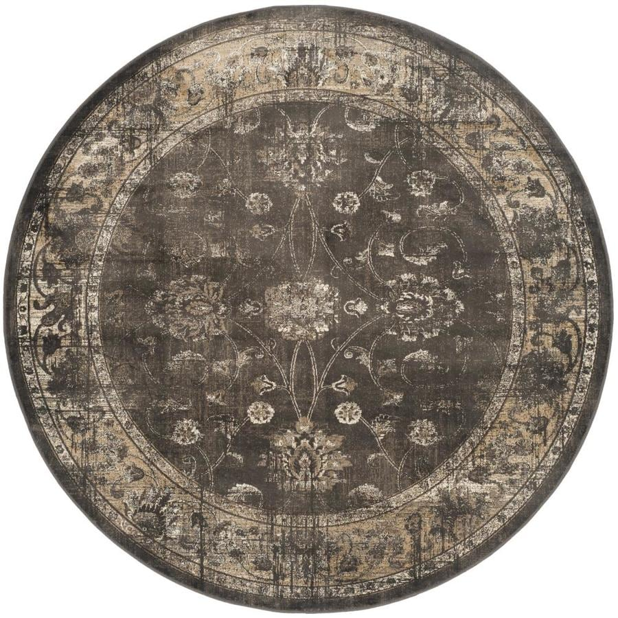 Safavieh Vintage Mosed Soft Anthracite Round Indoor Distressed Area Rug (Common: 8 x 8; Actual: 8-ft W x 8-ft L x 8-ft dia)