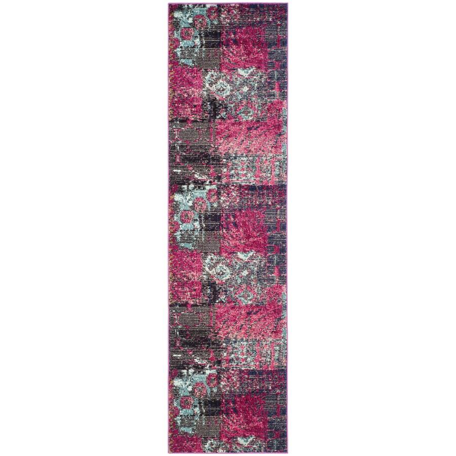 Safavieh Monaco Patchwork Pink Indoor Distressed Runner (Common: 2 x 8; Actual: 2.2-ft W x 8-ft L)