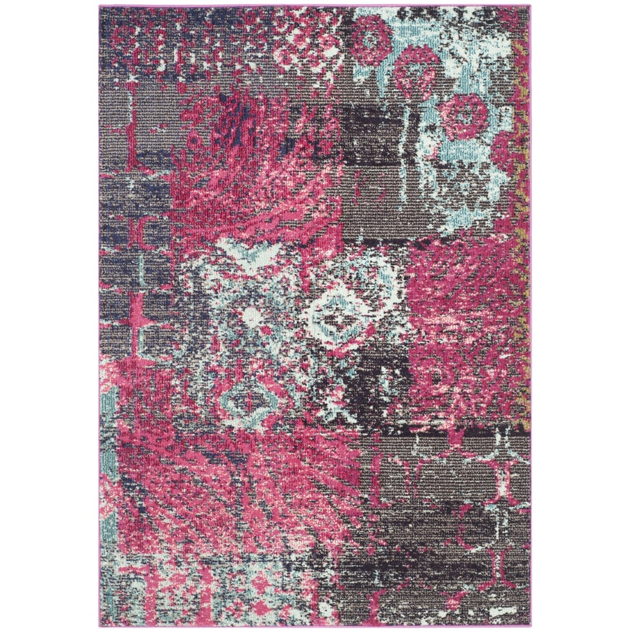 Safavieh Monaco Pink/Multi Rectangular Indoor Machine-Made Distressed Area Rug (Common: 4 x 6; Actual: 4-ft W x 5.583-ft L x 0-ft Dia)