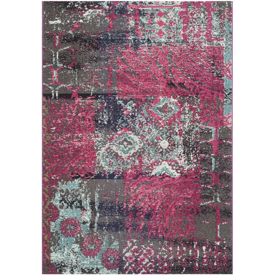 Safavieh Monaco Patchwork Pink Indoor Distressed Area Rug (Common: 5 x 8; Actual: 5.1-ft W x 7.6-ft L)
