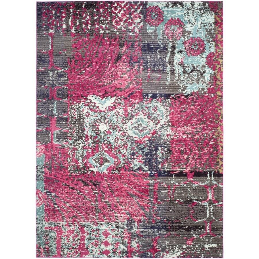 Safavieh Monaco Patchwork Pink/Multi Rectangular Indoor Machine-made Distressed Area Rug (Common: 9 x 12; Actual: 9-ft W x 12-ft L)