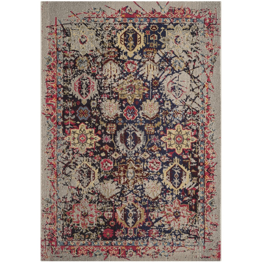Safavieh Monaco Gray/Multi Rectangular Indoor Machine-Made Distressed Area Rug (Common: 5 x 7; Actual: 5.083-ft W x 7.583-ft L)