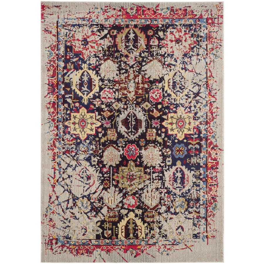 Safavieh Monaco Gray/Multi Rectangular Indoor Machine-Made Distressed Area Rug (Common: 6 x 9; Actual: 6.583-ft W x 9.166-ft L x 0-ft Dia)