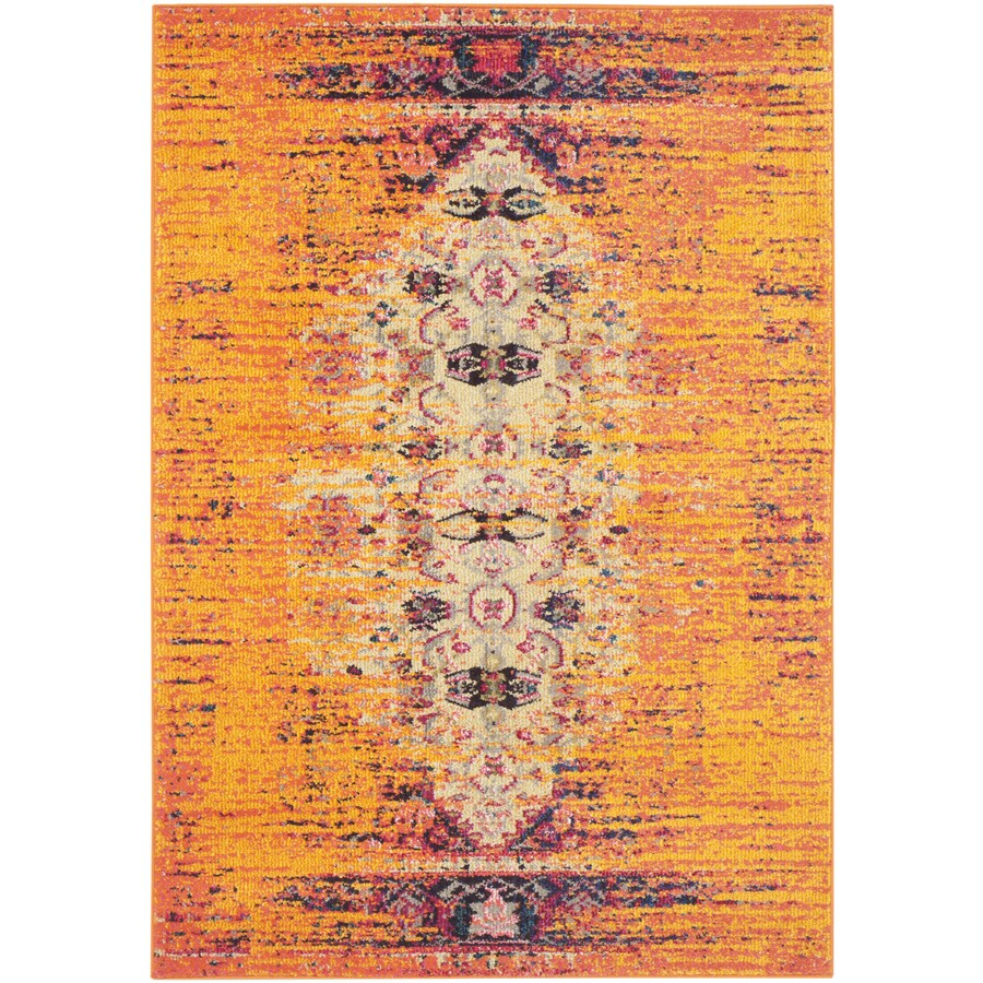 Safavieh Monaco Orange/Multi Rectangular Indoor Machine-Made Area Rug (Common: 4 x 5; Actual: W x L x 0-ft Dia)