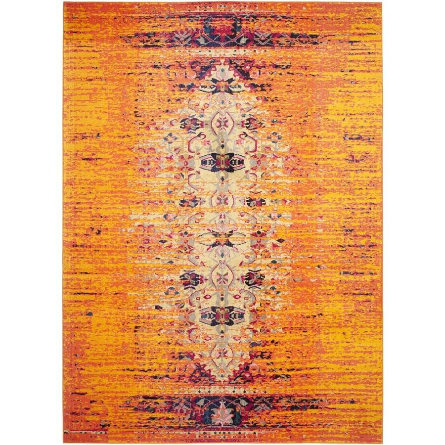 Safavieh Monaco Kimberly Orange/Multi Rectangular Indoor Machine-made Distressed Area Rug (Common: 8 x 11; Actual: 8-ft W x 11-ft L)