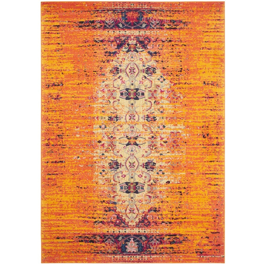 Safavieh Monaco Orange/Multi Rectangular Indoor Machine-Made Distressed Area Rug (Common: 6 x 9; Actual: 6.583-ft W x 9.166-ft L)