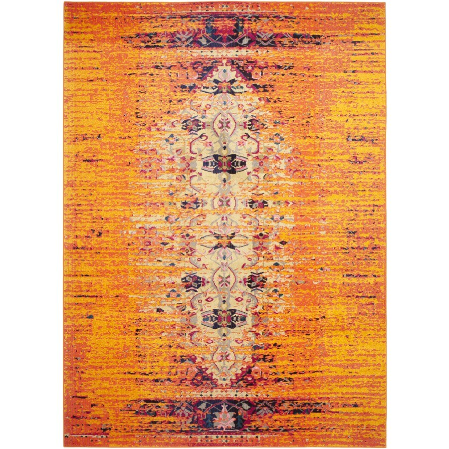 Safavieh Monaco Kimberly Orange/Multi Rectangular Indoor Machine-made Distressed Area Rug (Common: 9 x 12; Actual: 9-ft W x 12-ft L)
