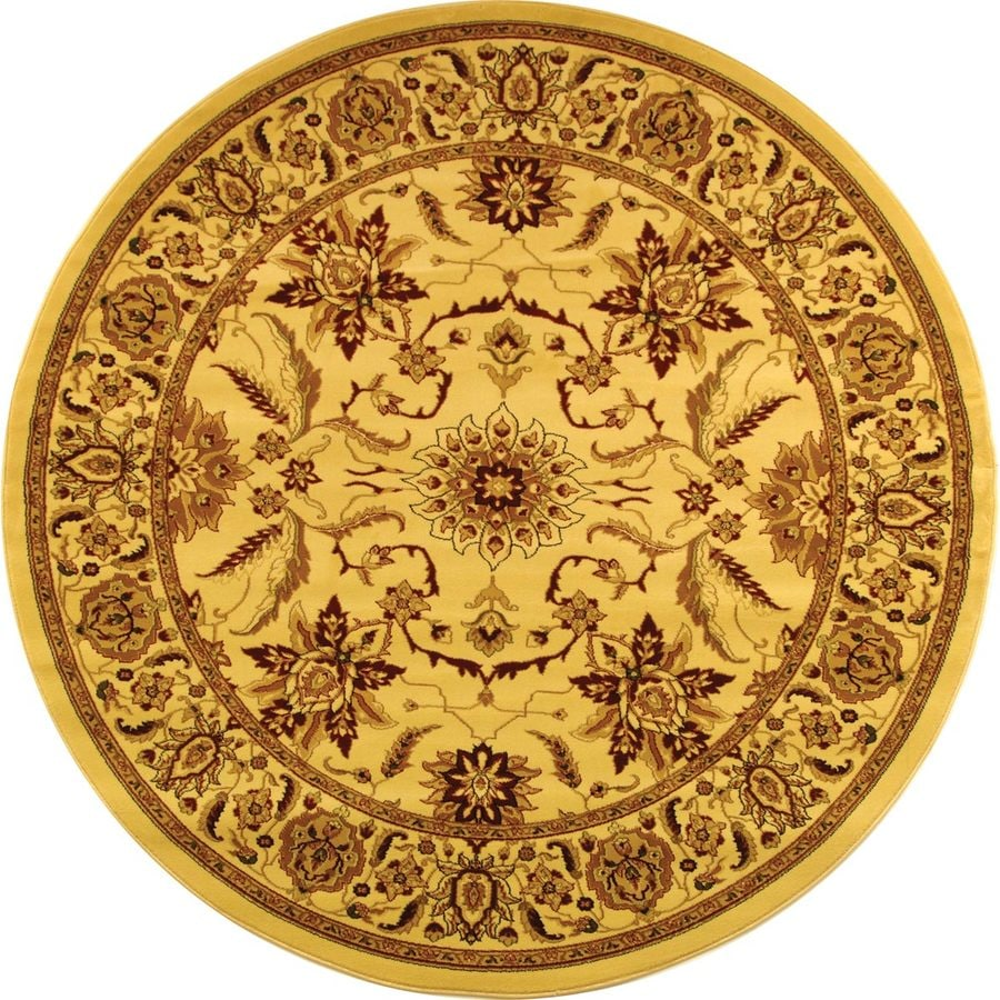 Safavieh Lyndhurst Ivory and Tan Round Indoor Machine-Made Area Rug (Common: 5 x 5; Actual: 63-in W x 63-in L x 0.42-ft Dia)