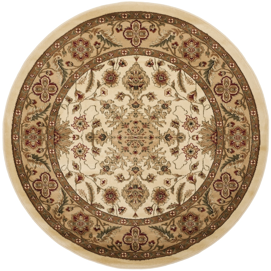 Safavieh Lyndhurst Mashad Ivory/Tan Round Indoor Oriental Area Rug (Common: 8 x 8; Actual: 8-ft W x 8-ft L x 8-ft dia)