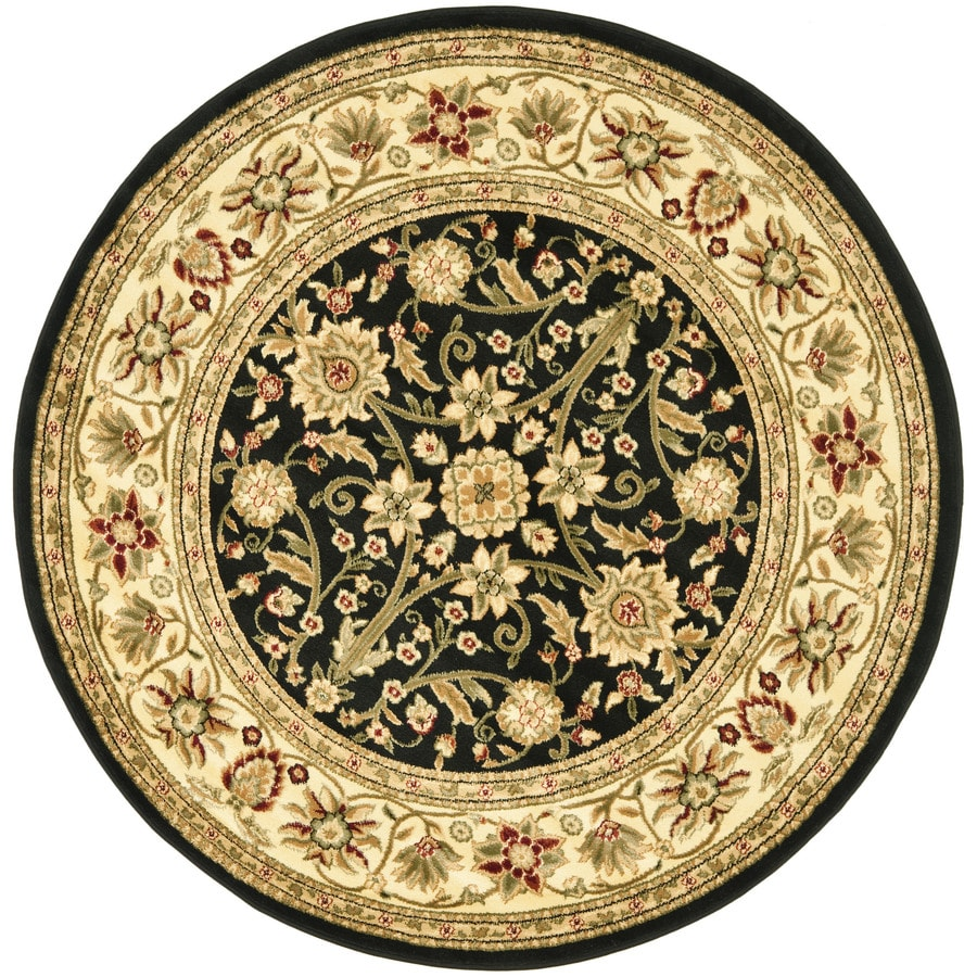 Safavieh Lyndhurst Sarouk Black/Ivory Round Indoor Machine-made Oriental Area Rug (Common: 5 x 5; Actual: 5.25-ft W x 5.25-ft L x 5.25-ft Dia)