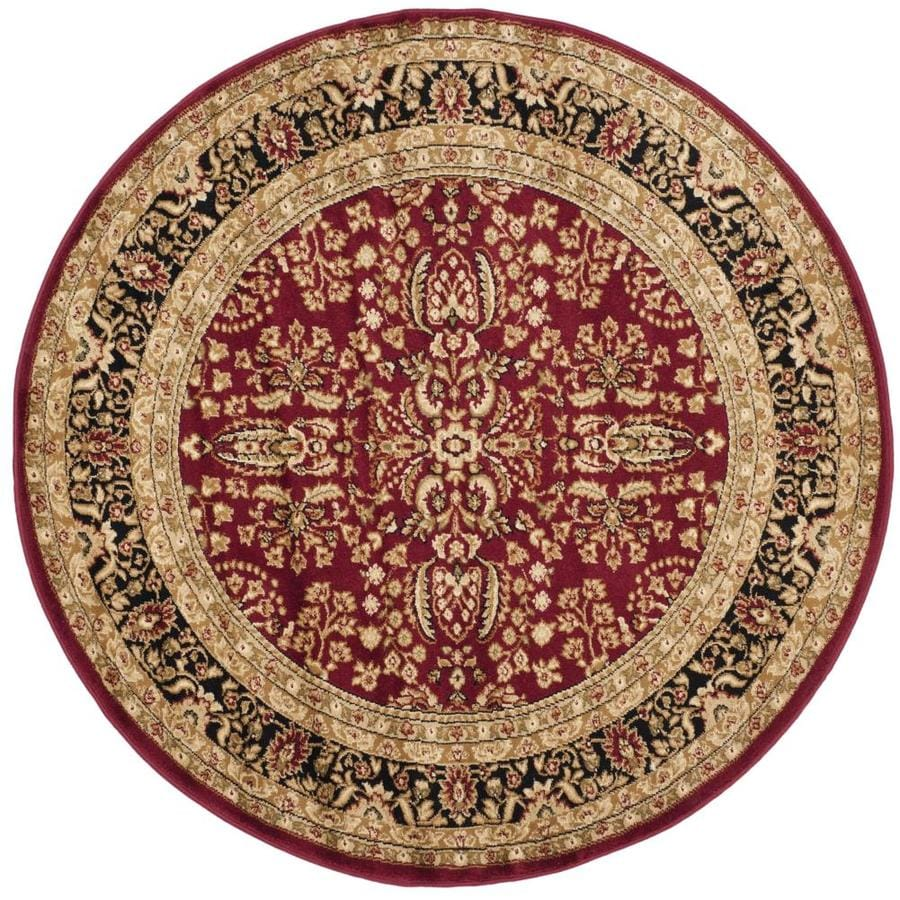 Safavieh Lyndhurst Isphahan Red/Black Round Indoor Oriental Area Rug (Common: 8 x 8; Actual: 8-ft W x 8-ft L x 8-ft dia)