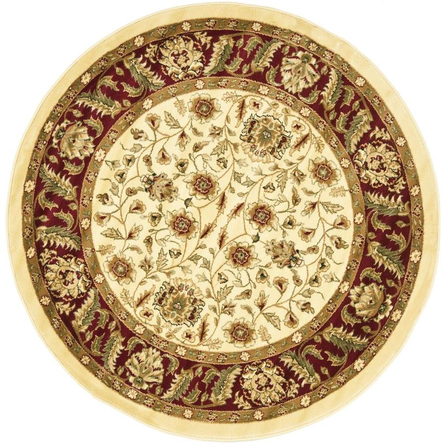 Safavieh Lyndhurst Ivory and Red Round Indoor Machine-Made Area Rug (Common: 8 x 8; Actual: 96-in W x 96-in L x 0.5-ft Dia)