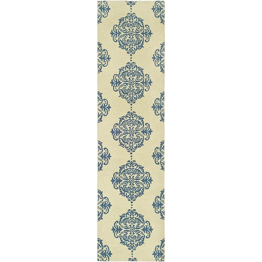 Safavieh Chelsea Damask Ivory and Blue Indoor Handcrafted Lodge Runner (Common: 2 x 10; Actual: 2.5-ft W x 10-ft L)