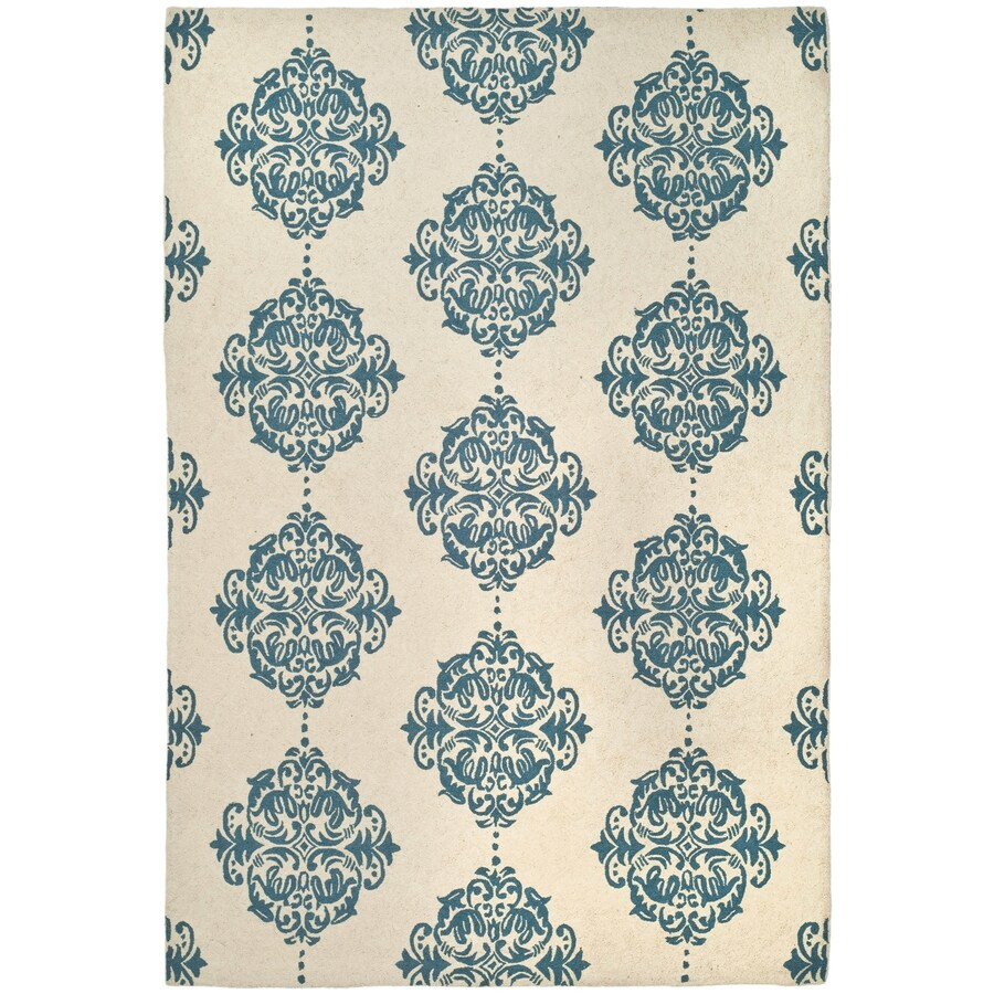 Safavieh Chelsea Damask Ivory/Blue Indoor Handcrafted Lodge Area Rug (Common: 6 x 9; Actual: 6-ft W x 9-ft L)