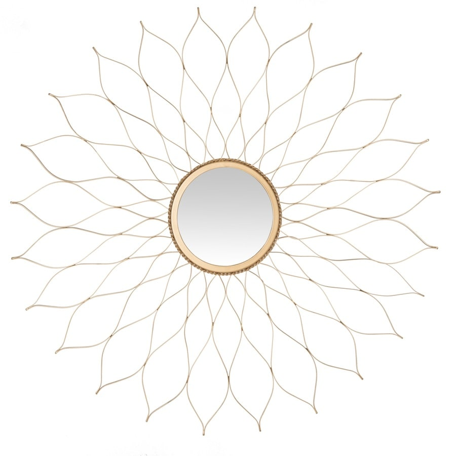 Safavieh Flower Gold Polished Round Wall Mirror