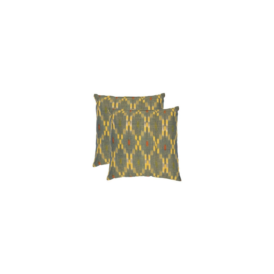 Safavieh 2-Piece 18-in W x 18-in L Green/Yellow Square Indoor Decorative Complete Pillows