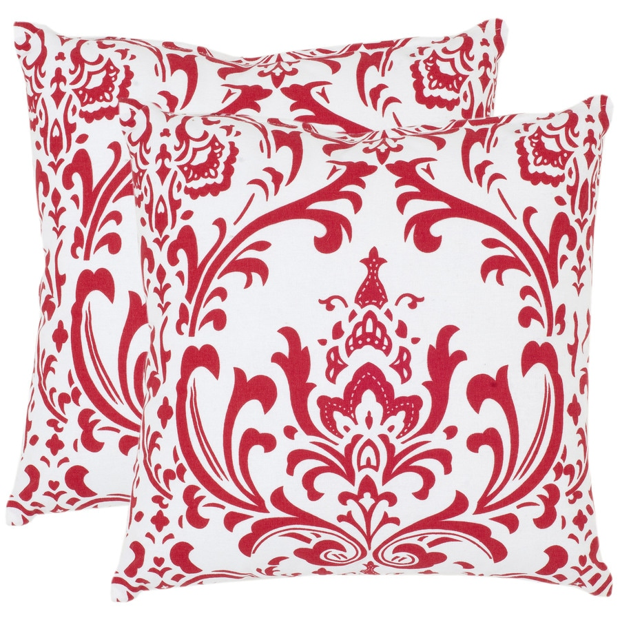 Safavieh Isadora 2-Piece 18-in W x 18-in L Red Indoor Decorative Pillow