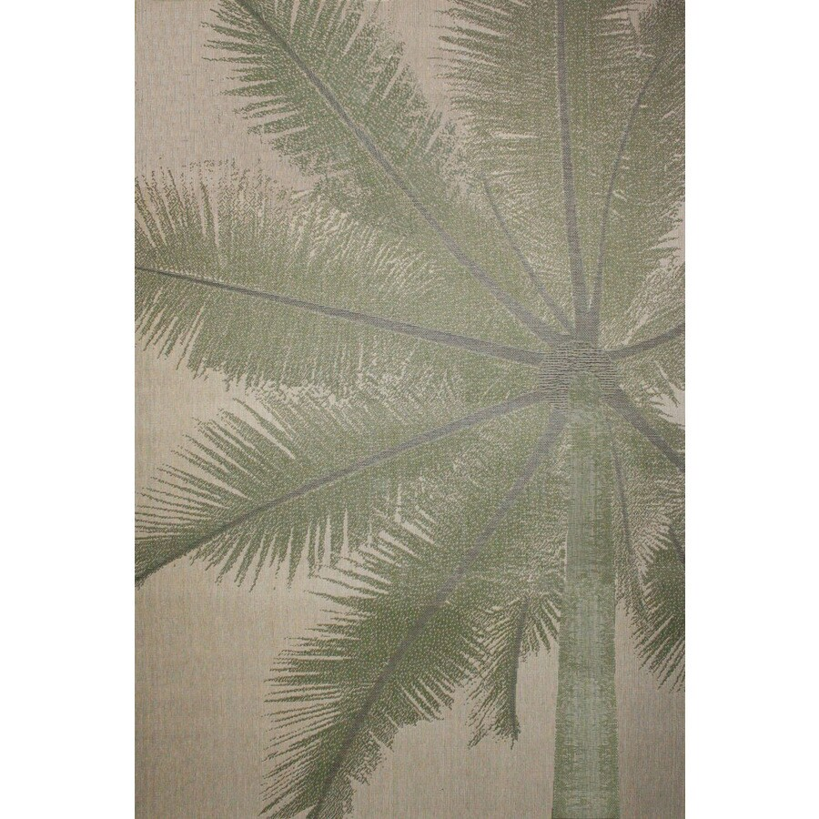 Coastal Natural/Green Rectangular Indoor/Outdoor Machine-made Area Rug (Common: 5 X 7; Actual: 5.25-ft W x 7.6-ft L)