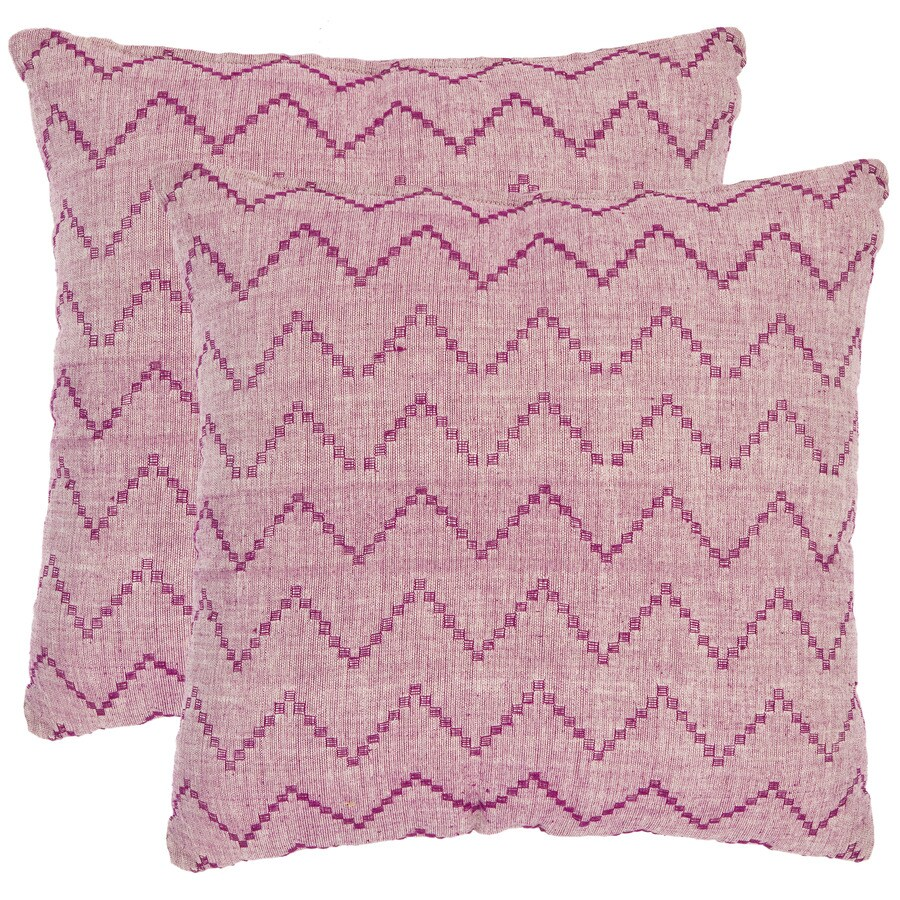 Safavieh Zig Zag 2-Piece 22-in W x 22-in L Rose Square Indoor Decorative Pillow