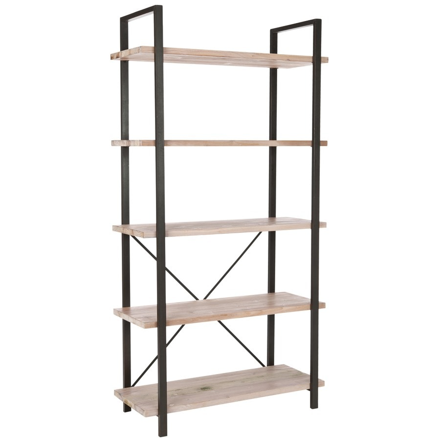 Safavieh American Home Pickled Oak 34-in W x 65-in H x 15-in D 5-Shelf Bookcase
