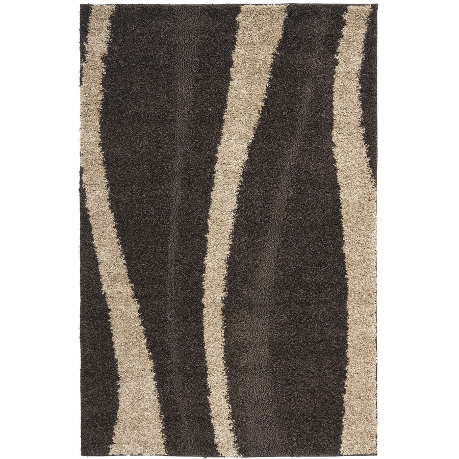 Safavieh Willow Shag Dark Brown/Beige Indoor Tropical Area Rug (Common: 5 x 8; Actual: 5.25-ft W x 7.5-ft L)