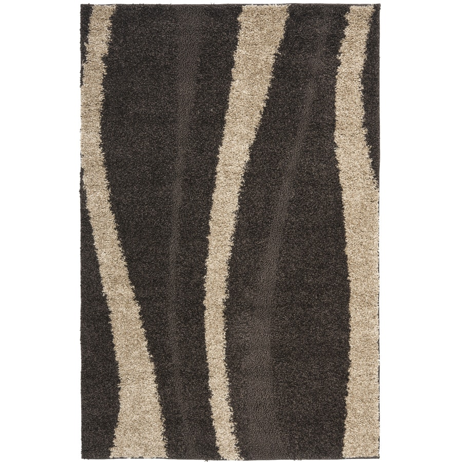 Safavieh Willow Shag Dark Brown/Beige Rectangular Indoor Machine-made Tropical Area Rug (Common: 8 x 10; Actual: 8-ft W x 10-ft L)