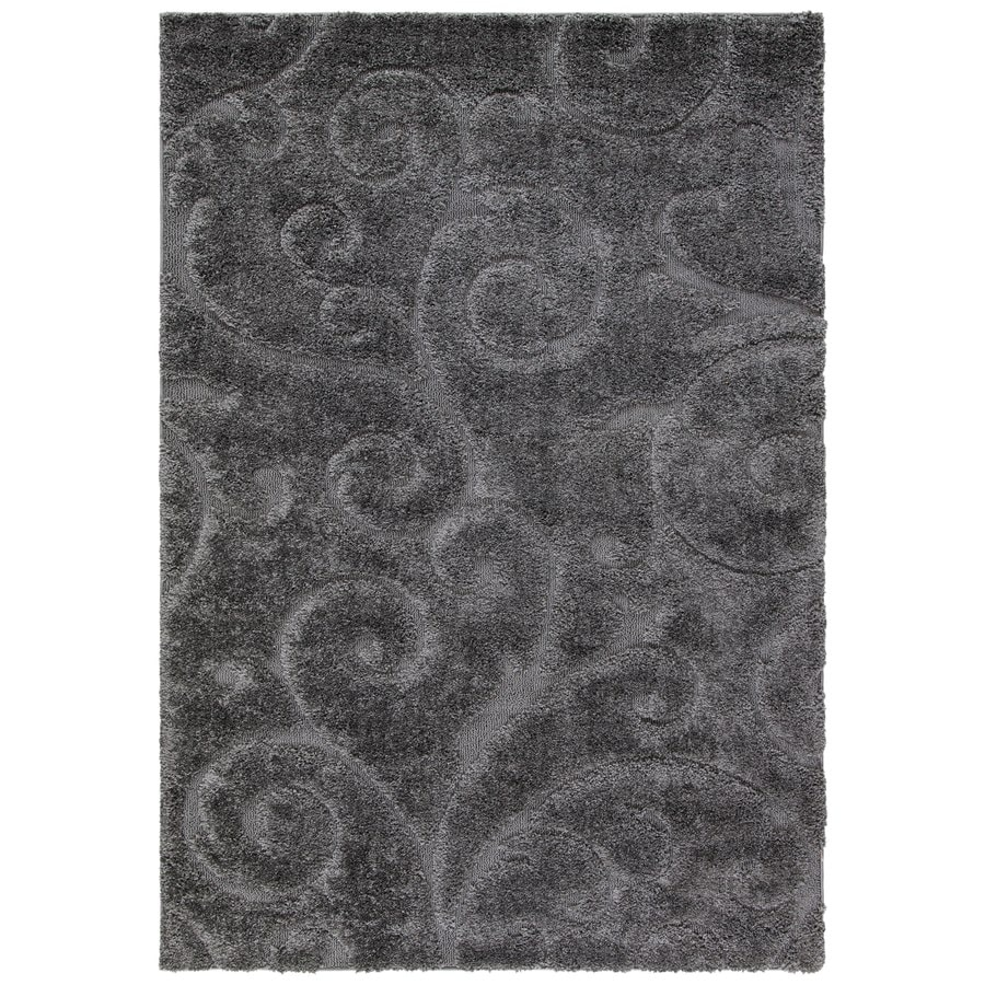 Safavieh Florida Scroll Shag Gray Indoor Tropical Area Rug (Common: 5 x 8; Actual: 5.25-ft W x 7.5-ft L)
