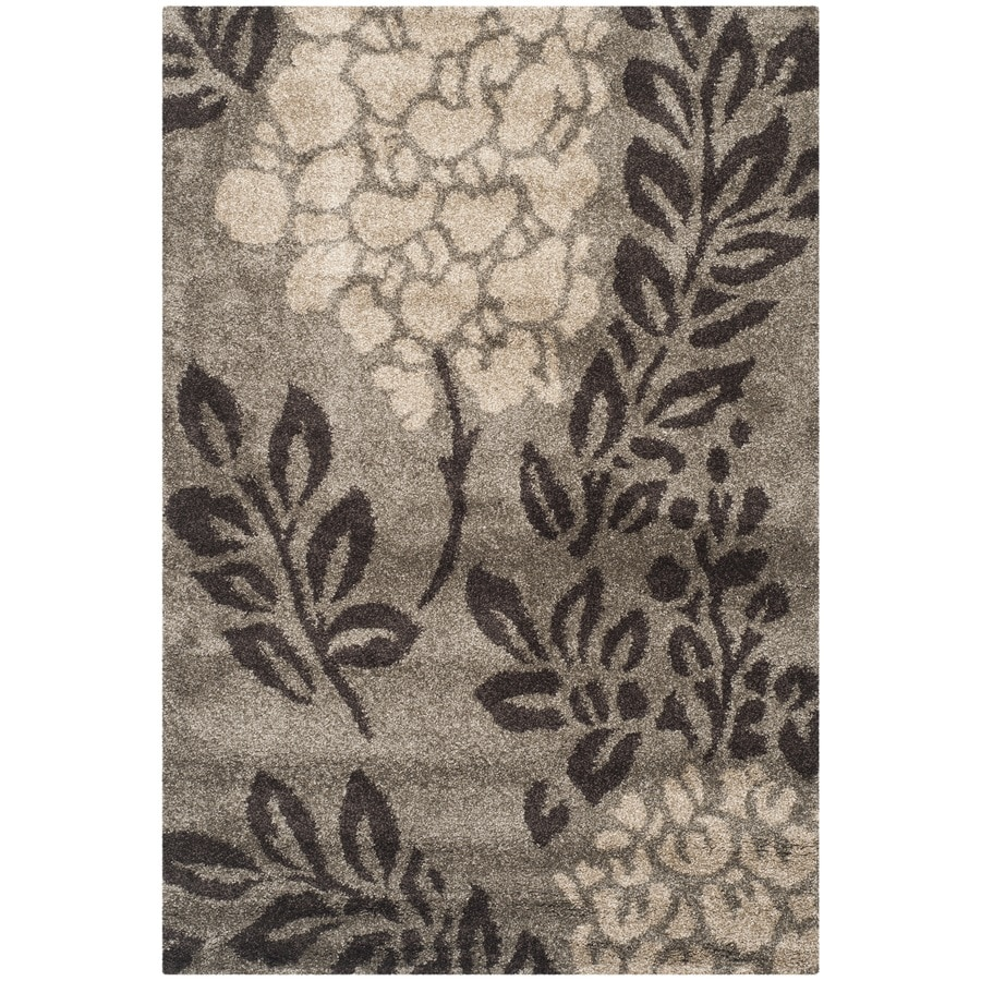 Safavieh Azalea Shag Smoke/Dark Brown Rectangular Indoor Machine-made Tropical Area Rug (Common: 5 x 7; Actual: 5.25-ft W x 7.5-ft L)