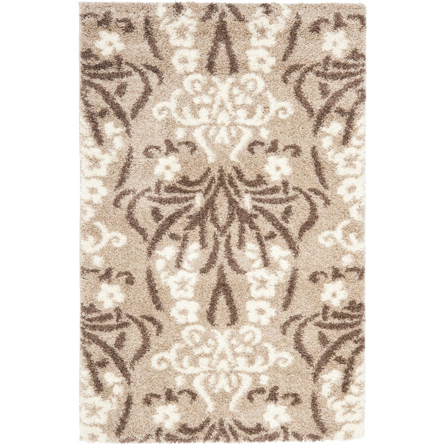 Safavieh Roxy Shag Beige/Cream Indoor Tropical Area Rug (Common: 5 x 8; Actual: 5.25-ft W x 7.5-ft L)