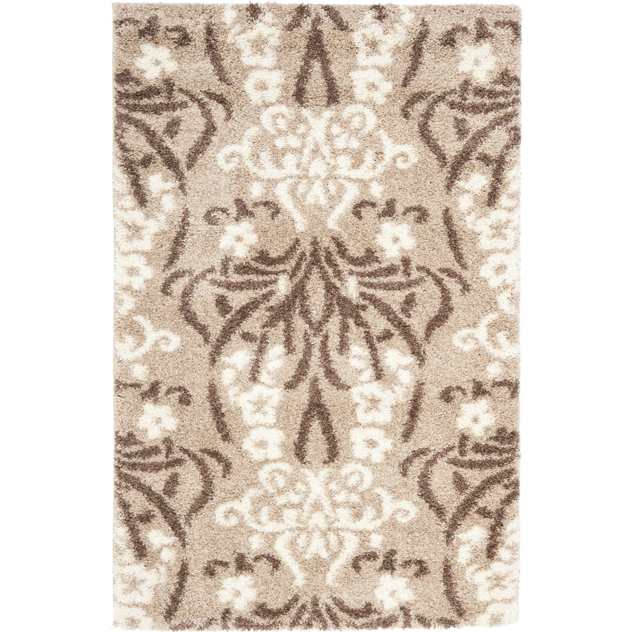 Safavieh Roxy Shag Beige/Cream Indoor Tropical Area Rug (Common: 8 x 10; Actual: 8-ft W x 10-ft L)