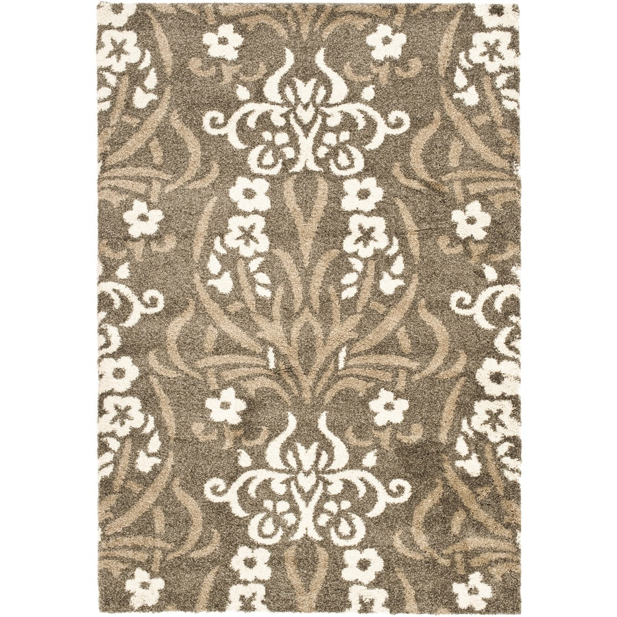 Safavieh Roxy Shag Smoke/Beige Rectangular Indoor Machine-made Tropical Area Rug (Common: 5 x 7; Actual: 5.25-ft W x 7.5-ft L)