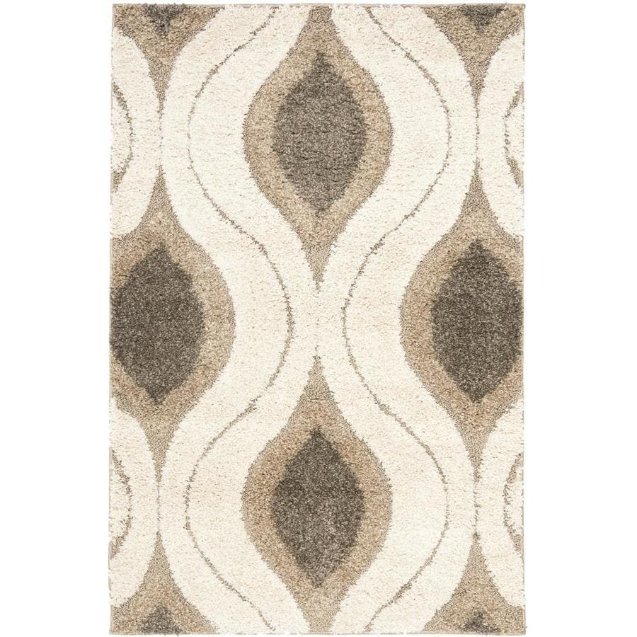 Safavieh Arcell Shag Cream/Smoke Rectangular Indoor Machine-made Tropical Area Rug (Common: 4 x 6; Actual: 4-ft W x 6-ft L)