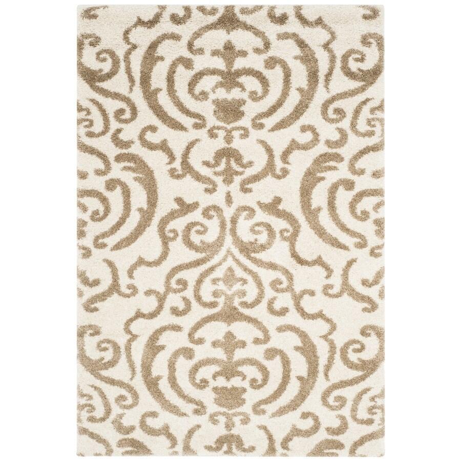 Safavieh Rania Shag Cream/Beige Rectangular Indoor Machine-made Tropical Area Rug (Common: 4 x 6; Actual: 4-ft W x 6-ft L)