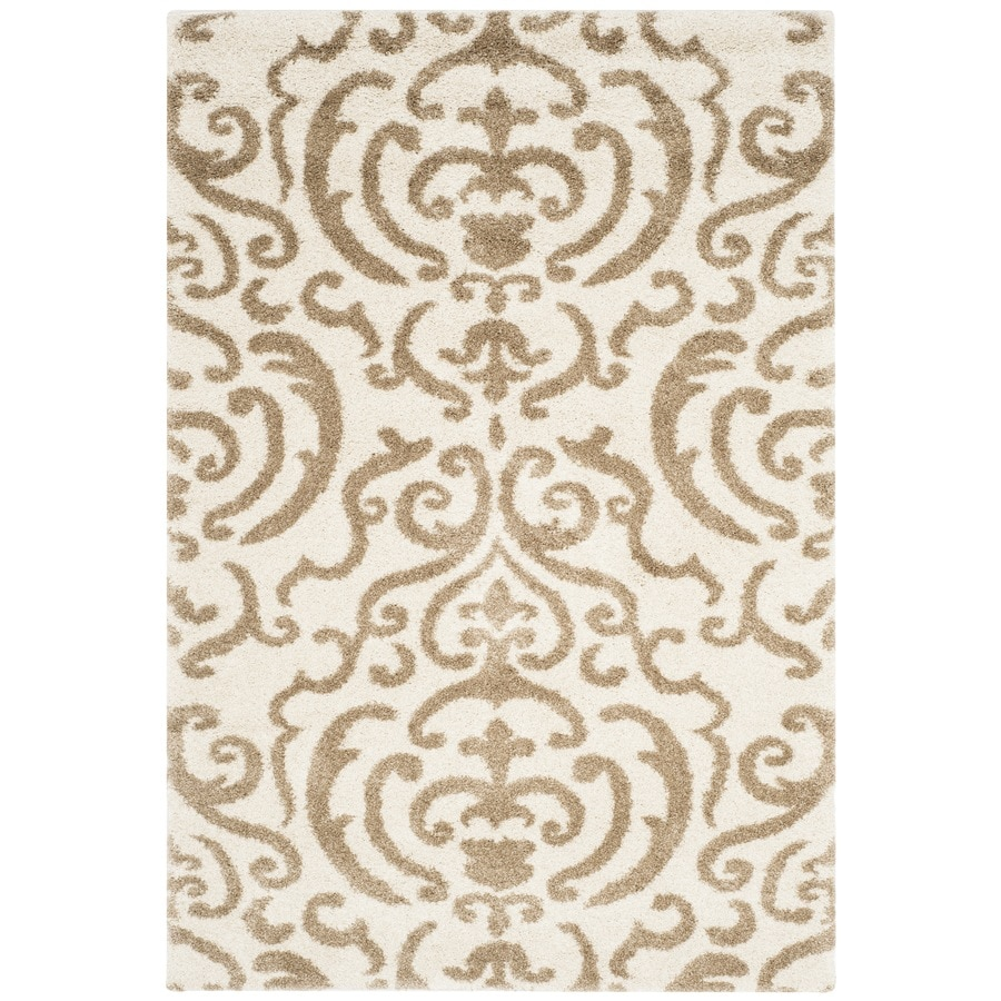 Safavieh Rania Shag Cream/Beige Indoor Tropical Area Rug (Common: 5 x 8; Actual: 5.25-ft W x 7.5-ft L)