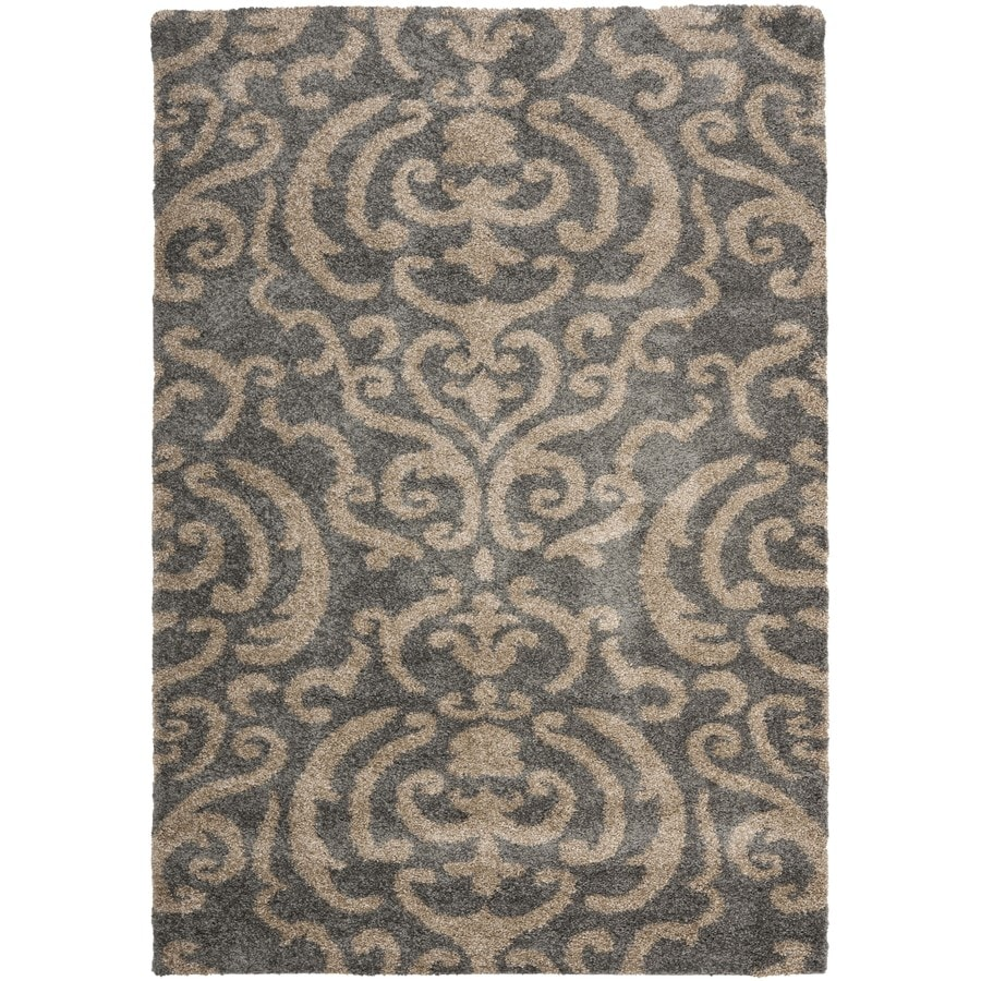 Safavieh Rania Shag Gray/Beige Rectangular Indoor Machine-made Tropical Area Rug (Common: 5 x 7; Actual: 5.25-ft W x 7.5-ft L)