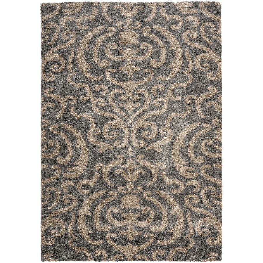 Safavieh Rania Shag Gray/Beige Rectangular Indoor Machine-made Tropical Area Rug (Common: 8 x 10; Actual: 8-ft W x 10-ft L)