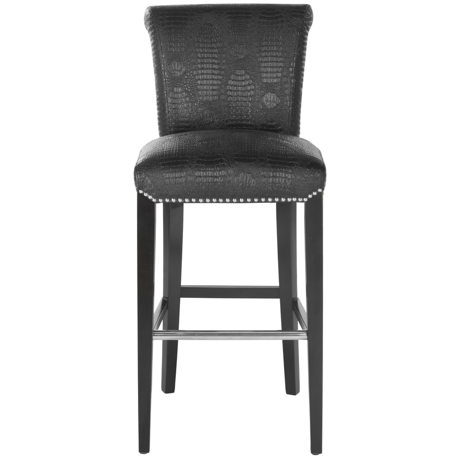 Safavieh Seth Bar Stool Modern Black Croc Bar Stool