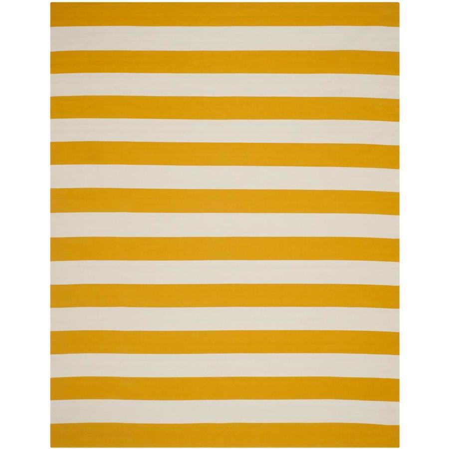 Safavieh Montauk Maslin Yellow/Ivory Rectangular Indoor Handcrafted Coastal Area Rug (Common: 6 x 9; Actual: 6-ft W x 9-ft L)