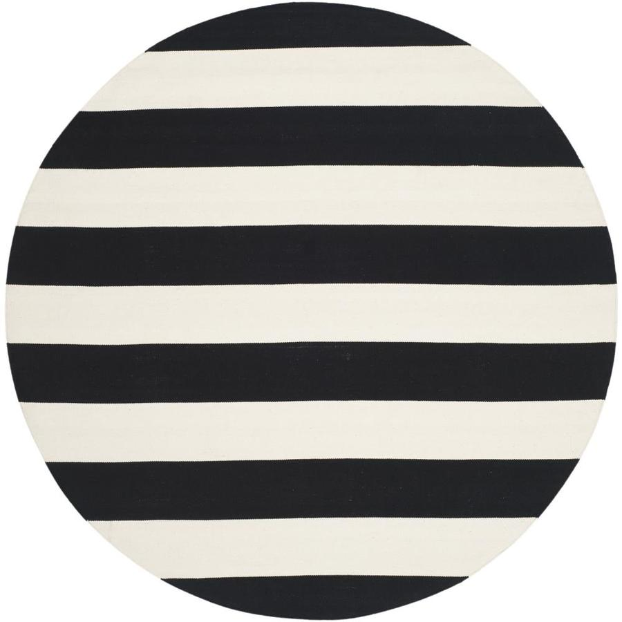 Safavieh Montauk Maslin Black/Ivory Round Indoor Handcrafted Coastal Area Rug (Common: 4 x 4; Actual: 4-ft W x 4-ft L x 4-ft dia)