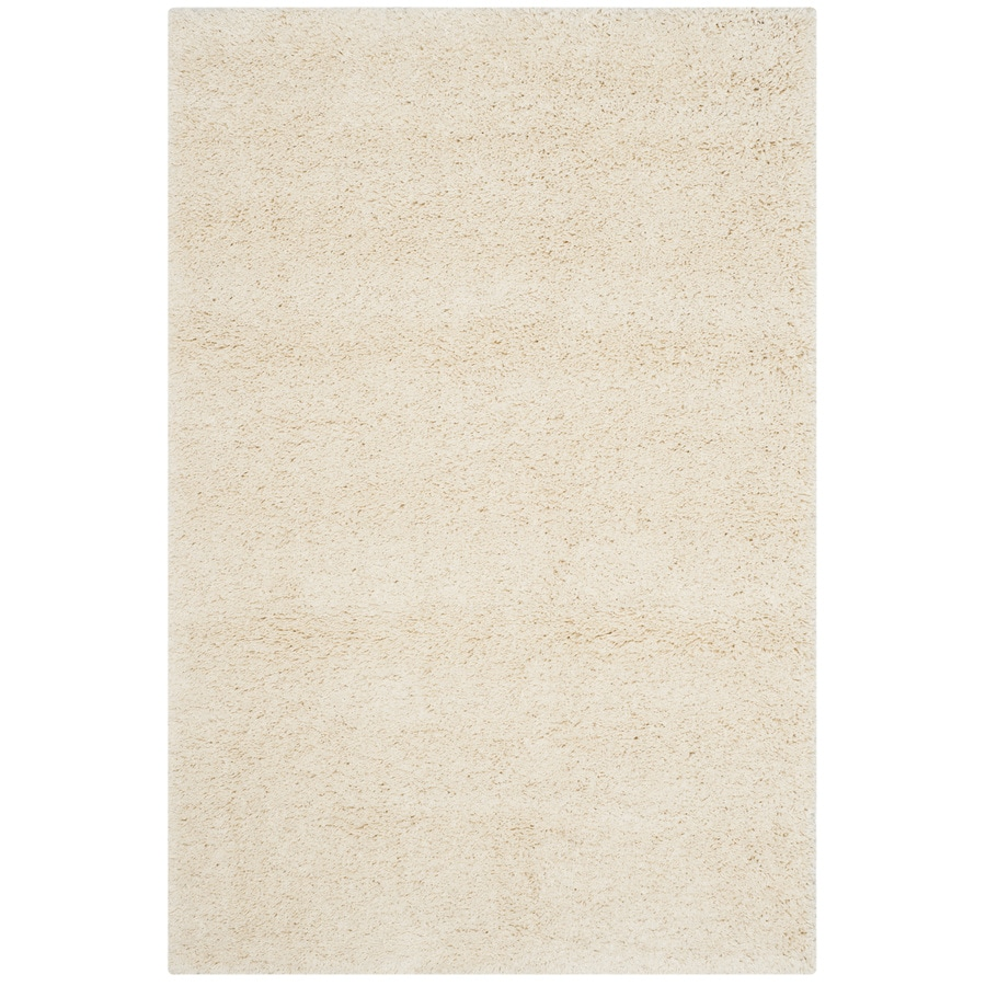 safavieh california shag ivory rectangular indoor machine made area rug common 4 x california shag black 4 ft