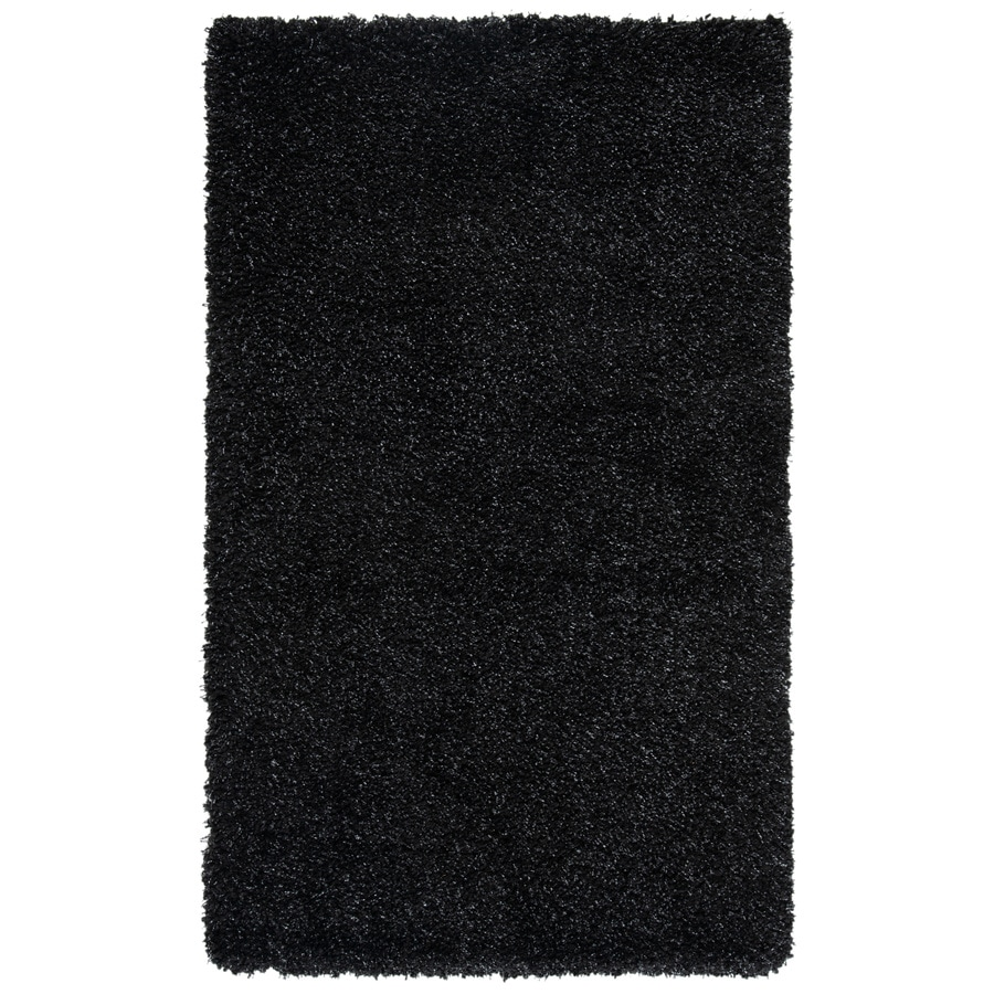 Safavieh California Shag Black Rectangular Indoor Machine-made Area Rug (Common: 4 x 6; Actual: 4-ft W x 6-ft L)