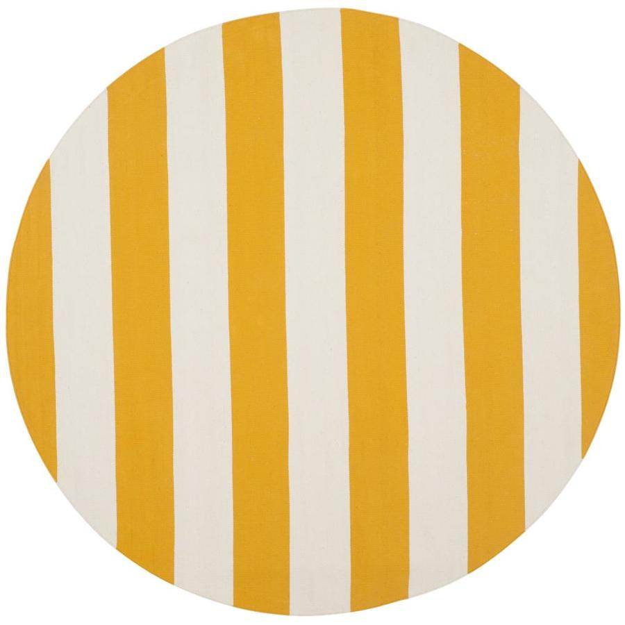 Safavieh Montauk Maslin Yellow/Ivory Round Indoor Handcrafted Coastal Area Rug (Common: 8 x 8; Actual: 8-ft W x 8-ft L x 8-ft dia)