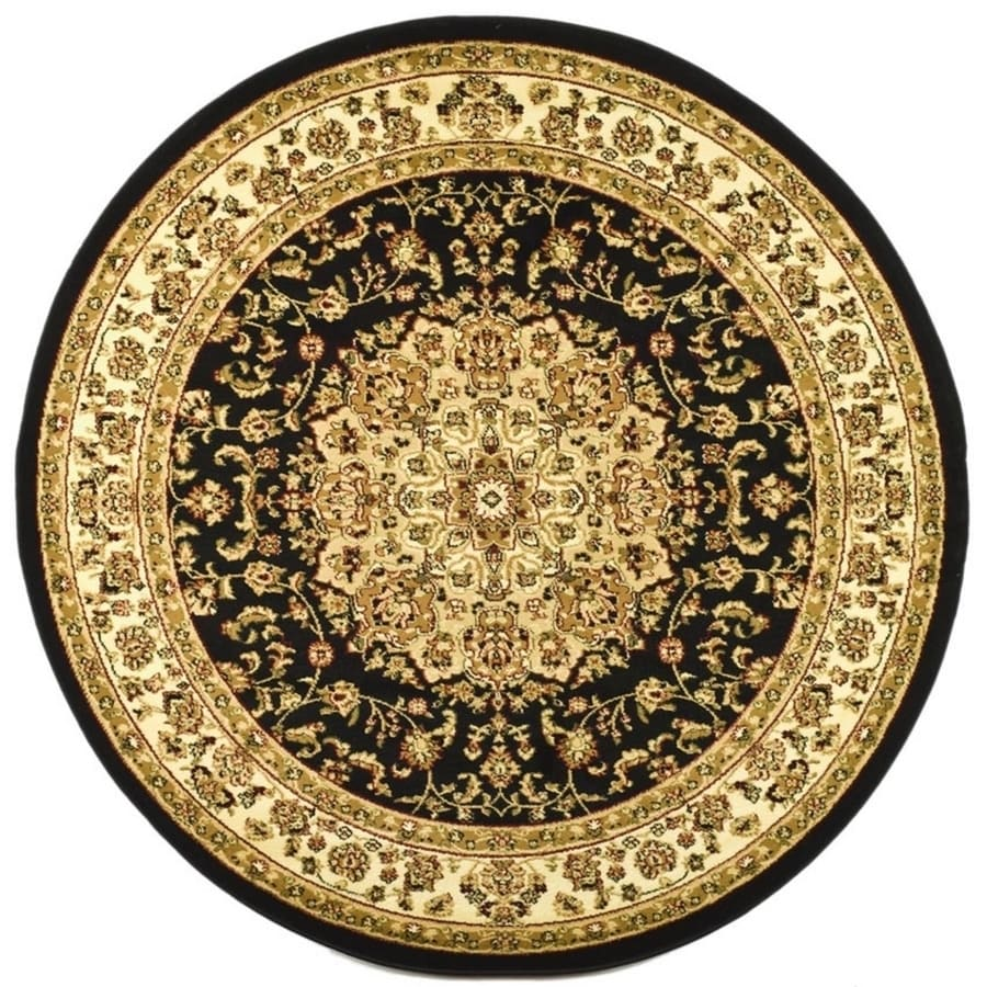 Safavieh Lyndhurst Nain Black/Ivory Round Indoor  Oriental Area Rug (Common: 7 x 7; Actual: 7-ft W x 7-ft L x 7-ft dia)