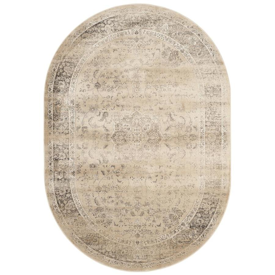 Safavieh Vintage Alhia Warm Beige Oval Indoor Machine-made Distressed Area Rug (Common: 5 x 7; Actual: 5.25-ft W x 7.5-ft L)